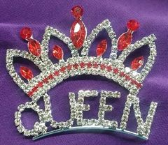 Rhinestone Queen with Red Crown Pin