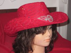 Cowboy hat with wide rhinestone embellishment