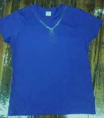 Purple Tee with Simple Rhinestone Neck Design