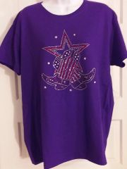 Purple Rhinestone Boots and Stars Tee