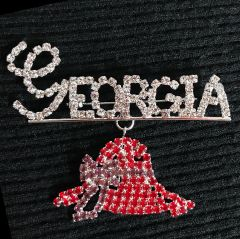 GEORGIA with Red Hat Dangle rhinestone pin