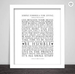 'Simple Formula for Living' Print