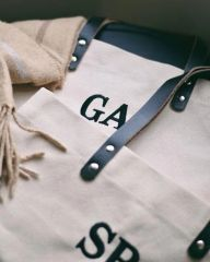 Natural Canvas Tote with Leather Strap - Personalised by HumanKnd