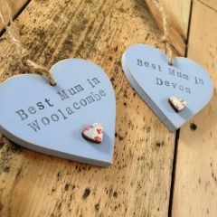 Best mum in ... Wooden Hearts