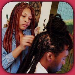 Hair Styles By Princess Zawadi Appointment Deposit For Adults Comb Kinky Twist Luv & Light Interloc'n Technique Palm Roll Locs & Kinky Twist & Straw Twist Organic Color