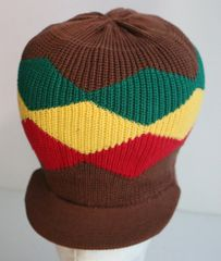 Happy 2B Nappy Brown with Red Gold & Green Knitted Hat