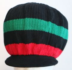 Happy 2B Nappy Red Black & Green Knitted Hat or Crown