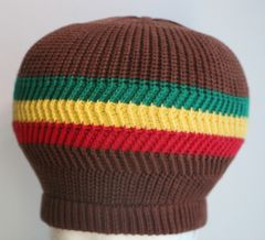 Happy 2B Nappy Brown with Red Gold & Green Knit Tam