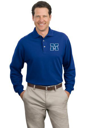 Mens 100% Cotton Long Sleeve Polo