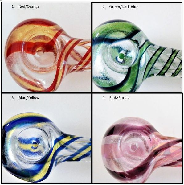 Glow in the dark glass pipes with dual swirl design - Various Colors