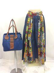 African Print Wide-Leg Pants with Sash