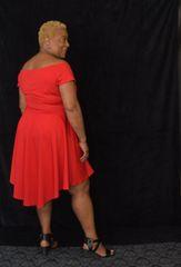 Off-Shoulder Asymmetic Dress