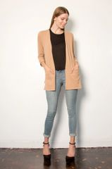 LA Relaxed Janey 3/4 Sleeve Cardigan (Warm Taupe)