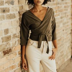 Hackwith Design House Reversible Wrap Top (Olive)