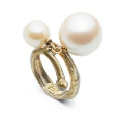 Natalie Frigo Dangling Pearls Ring