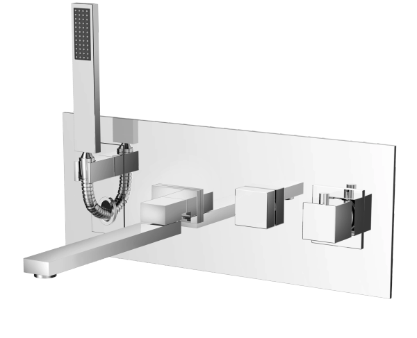 Tenzo Wcss4 Wall Mount Tub Filler With Hand Shower And Swivel Spo
