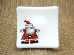 Santa white glass curved plate