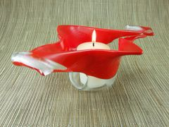 Flame red twisted handmade glass bowl