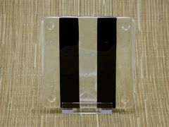 Black/clear glass coaster - 2 stripe