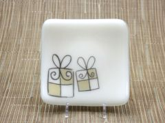 Christmas present cream glass small curved square plate