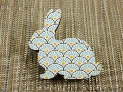 Rabbit - blue/white/yellow patterned bunny wood brooch