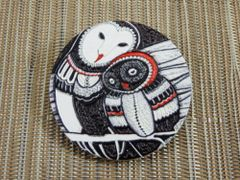 Owl wood brooch