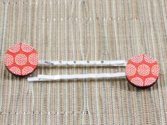 Red tribal dot wood bobby pins