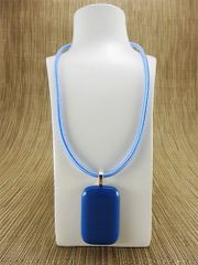Blue rectangular glass pendant