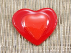 Red hearts handmade glass brooch