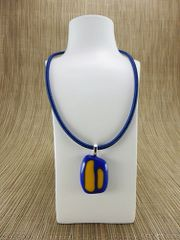 Blue glass pendant with yellow pattern
