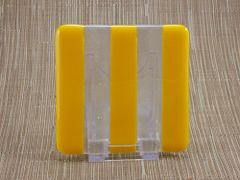 Yellow/clear glass coaster - 3 stripe