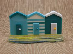 Beach huts No. 7 in handmade glass