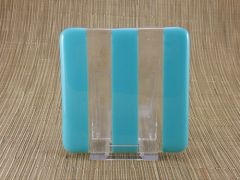 Blue (light) and clear glass coaster - 3 stripe