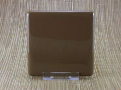 Chocolate coloured square glass coaster