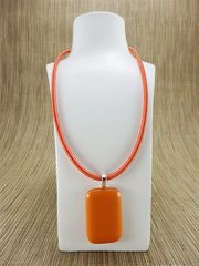 Orange rectangular glass pendant