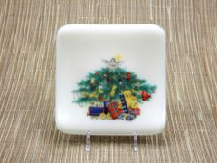 Christmas tree cream glass small square curved plate