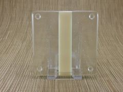 Ivory/clear glass coaster - 1 stripe
