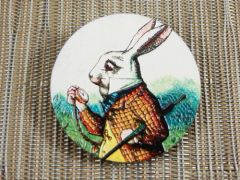 Late rabbit wood brooch