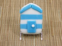 Beach hut glass fridge magnet - sky blue/white stripes with blue trim