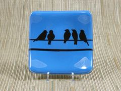 Blue glass small square curved plate