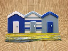 Beach huts No. 5 in handmade glass