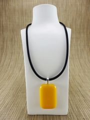 Yellow rectangular glass pendant