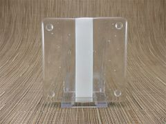 Cream/clear glass square coaster - 1 stripe