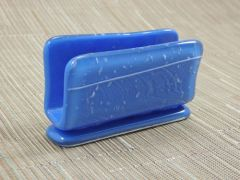 Blue/white patterned glass business card stand