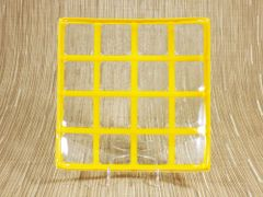 Yellow/clear glass medium square centre plate
