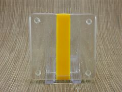 Yellow/clear glass coaster - 1 stripe