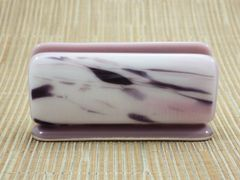 Purple/white/pink patterned glass business card stand