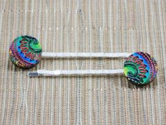 Rainbow paisley wood bobby pins