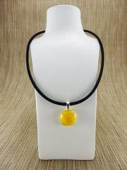 Yellow and clear glass pendant