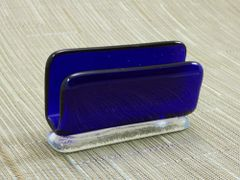 Blue (dark) transparent glass business card stand